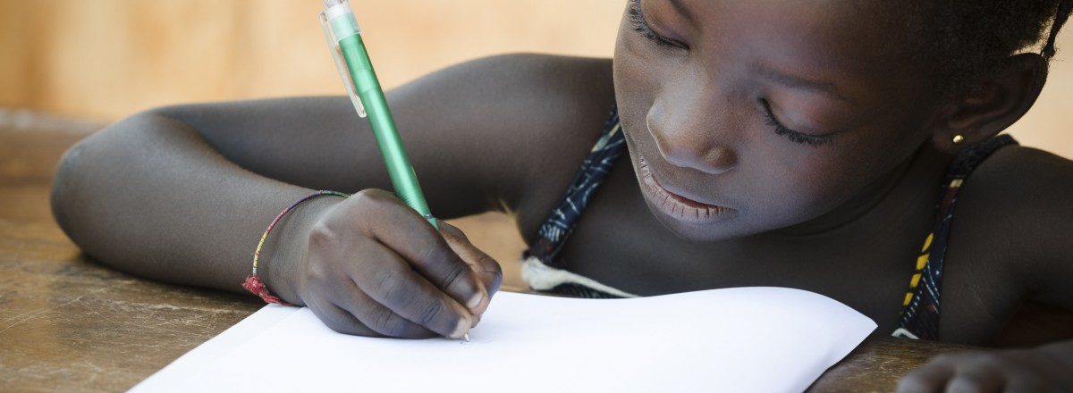 Schooling Symbol - African Young Girl Writing Notes